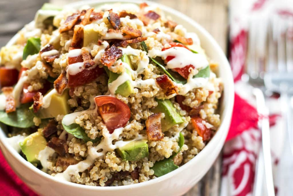 Avocado BLT Quinoa Salad with Ranch Dressing