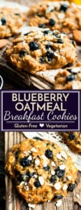 A healthy and gluten-free recipe for blueberry oatmeal breakfast cookies.  They make a wonderful breakfast treat, healthy dessert, or after school snack!