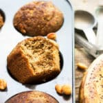 Healthy Banana & Peanut Butter Gluten Free Muffins recipe | A gluten free and healthy breakfast muffin recipe full of bananas and peanut butter... and NO refined sugar!