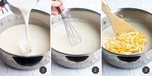 Three photos demonstrating how to make a cheesy cream sauce.