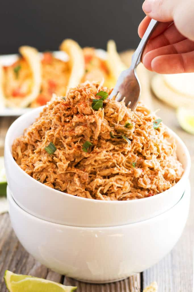 Slow Cooker Salsa Shredded Chicken recipe | Gluten Free with L.B.