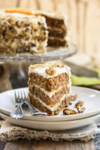 A Gluten Free Classic Carrot Cake Recipe | A spring or summer gluten free cake recipe that is full of carrots, walnuts and topped with a yummy cream cheese frosting!