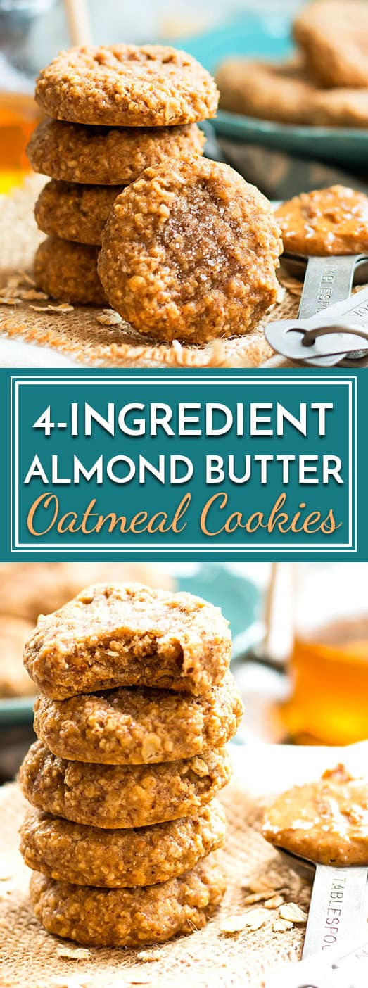 A gluten free recipe for almond butter oatmeal cookies that is made with only 4 ingredients. You probably already have them in your kitchen, too!