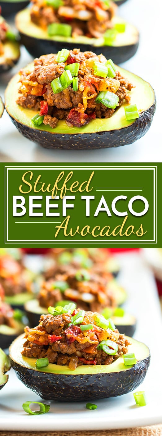 Beef Taco Stuffed Avocados are a gluten free, low-carb friendly appetizer or main dish. They are perfect for any party!