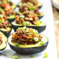 Beef Taco Stuffed Avocados   A gluten free dinner recipe for avocados stuffed with taco filling.