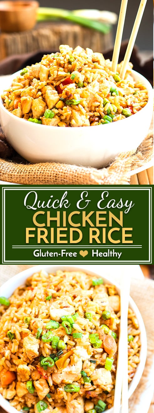 A healthy, easy, gluten-free chicken fried rice recipe that tastes as good as takeout but is made with healthy olive oil and full of good-for-you vegetables!