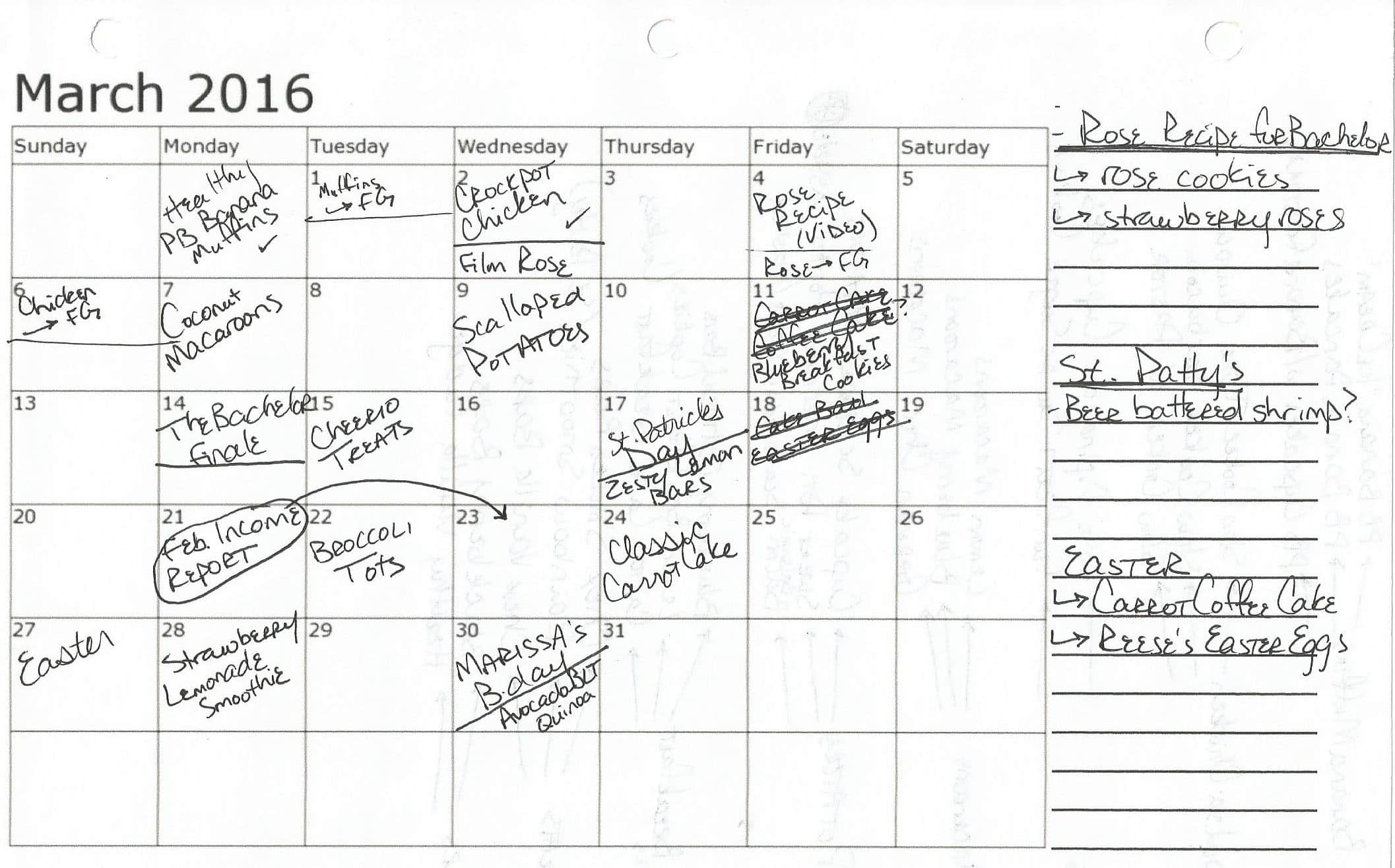 March Blog Calendar