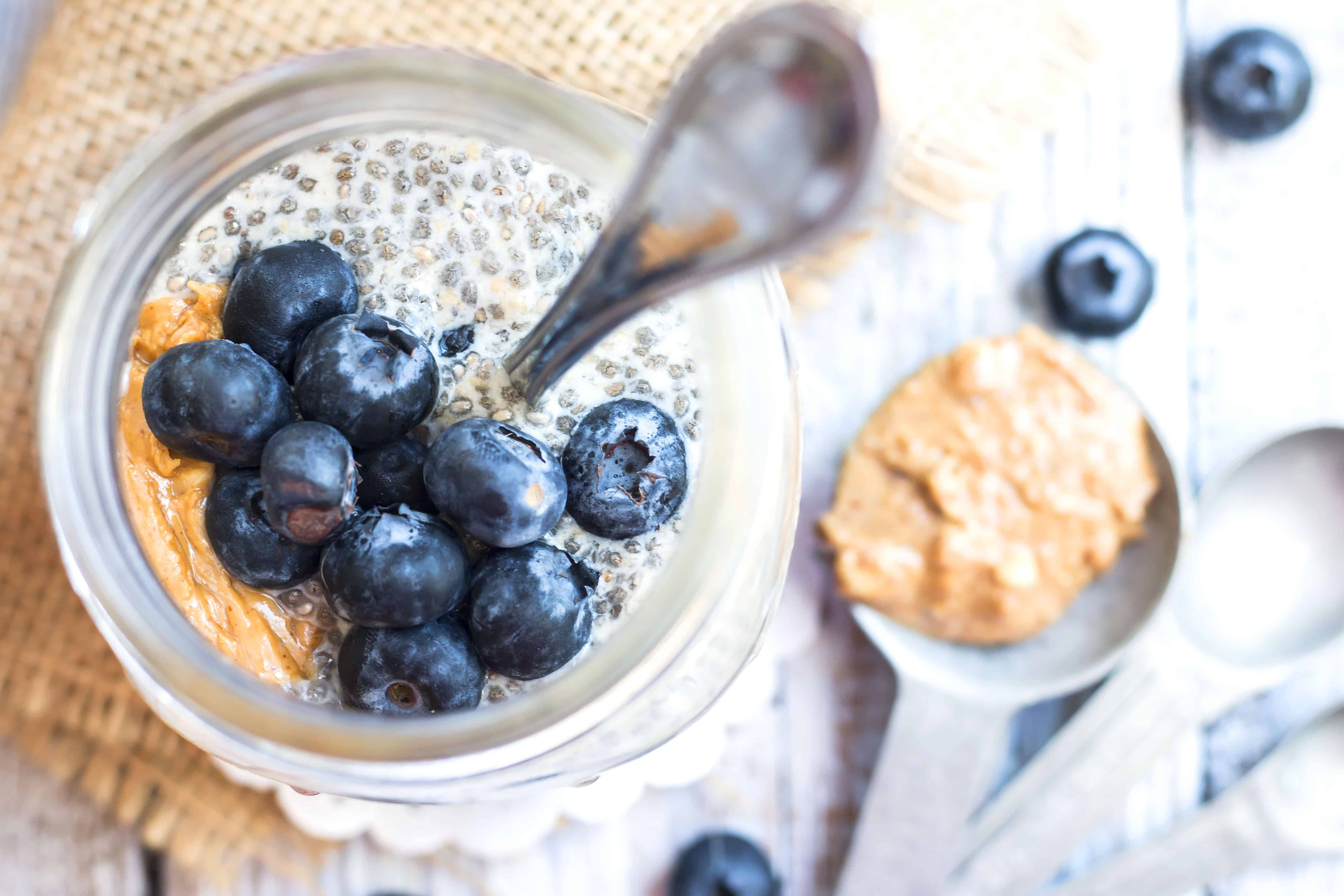 The top of a jar filled with pudding made with a gluten-free chia seed recipe for a delicious breakfast.