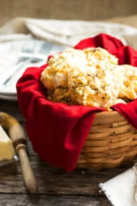 A basket filled with biscuits using a copycat Red Lobster biscuit recipe.