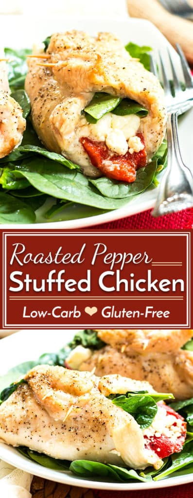 A quick and easy, gluten-free and low-carb bell pepper stuffed chicken recipe for dinner--full of roasted bell peppers, goat cheese, spinach, and basil.