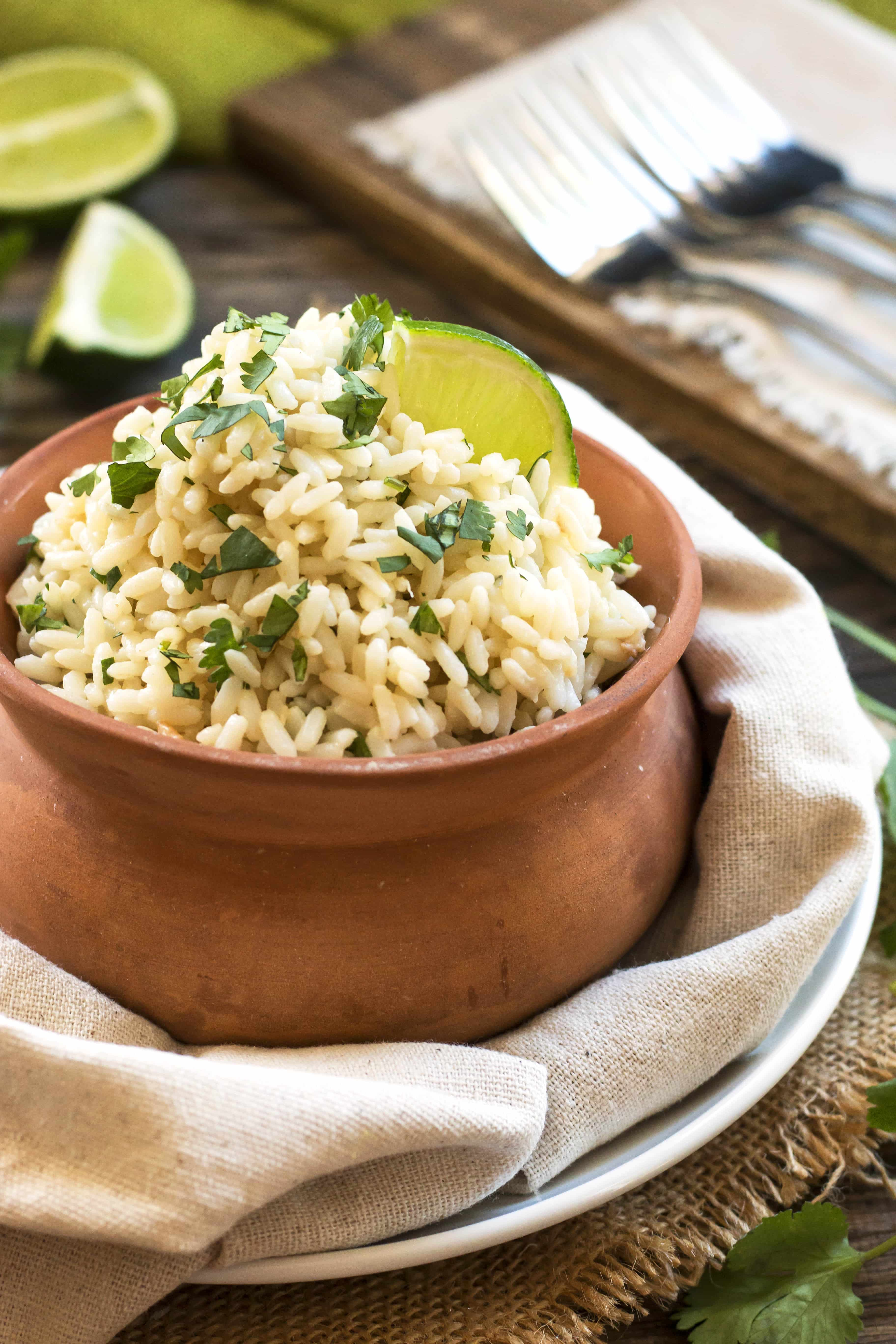 Coconut Cilantro Lime Brown Rice | A gluten free brown rice recipe in a rice cooker.