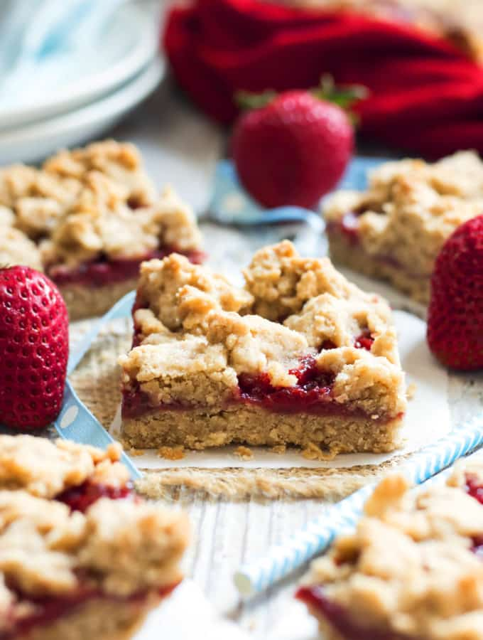 Peanut Butter & Strawberry Jam Crumb Bars