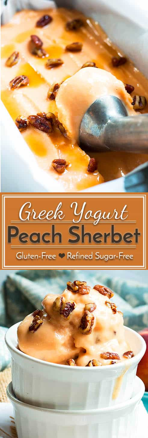 A healthy peach sherbet recipe that is made with Greek yogurt and topped with pecans sweetened with maple syrup. It makes a healthy frozen recipe for the hot summer months!