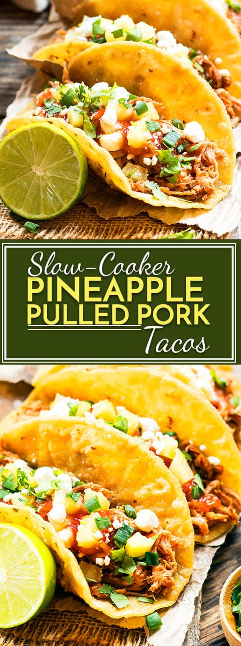 Slow cooker pineapple pulled pork recipe that can be served in tacos or on a bun for a burger. This crock pot pulled pork recipe is perfect for those busy weeknight dinners and is gluten-free, dairy-free, and kid friendly!  As a bonus, it is served with a delicious, homemade pineapple BBQ sauce!