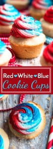Red, White, and Blue Sugar Cookie Cups make a great patriotic Memorial Day, Labor Day or July 4th dessert recipe.