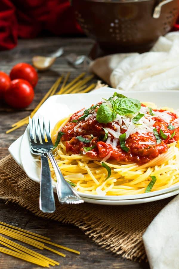 Spaghetti with Homemade Pomodoro Sauce
