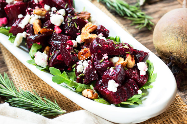 Twice Roasted Beets with Goat Cheese & Herbs