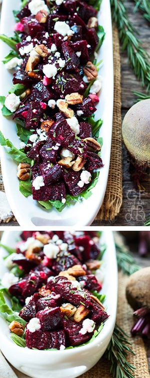 A roasted beet recipe full of crumbly goat cheese, toasted pecans, rosemary and thyme.  It makes a healthy side dish recipe for summer or fall!