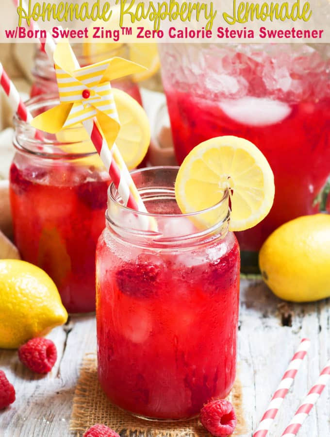 Homemade Raspberry Lemonade w/ Born Sweet Zing™ Stevia Sweetener