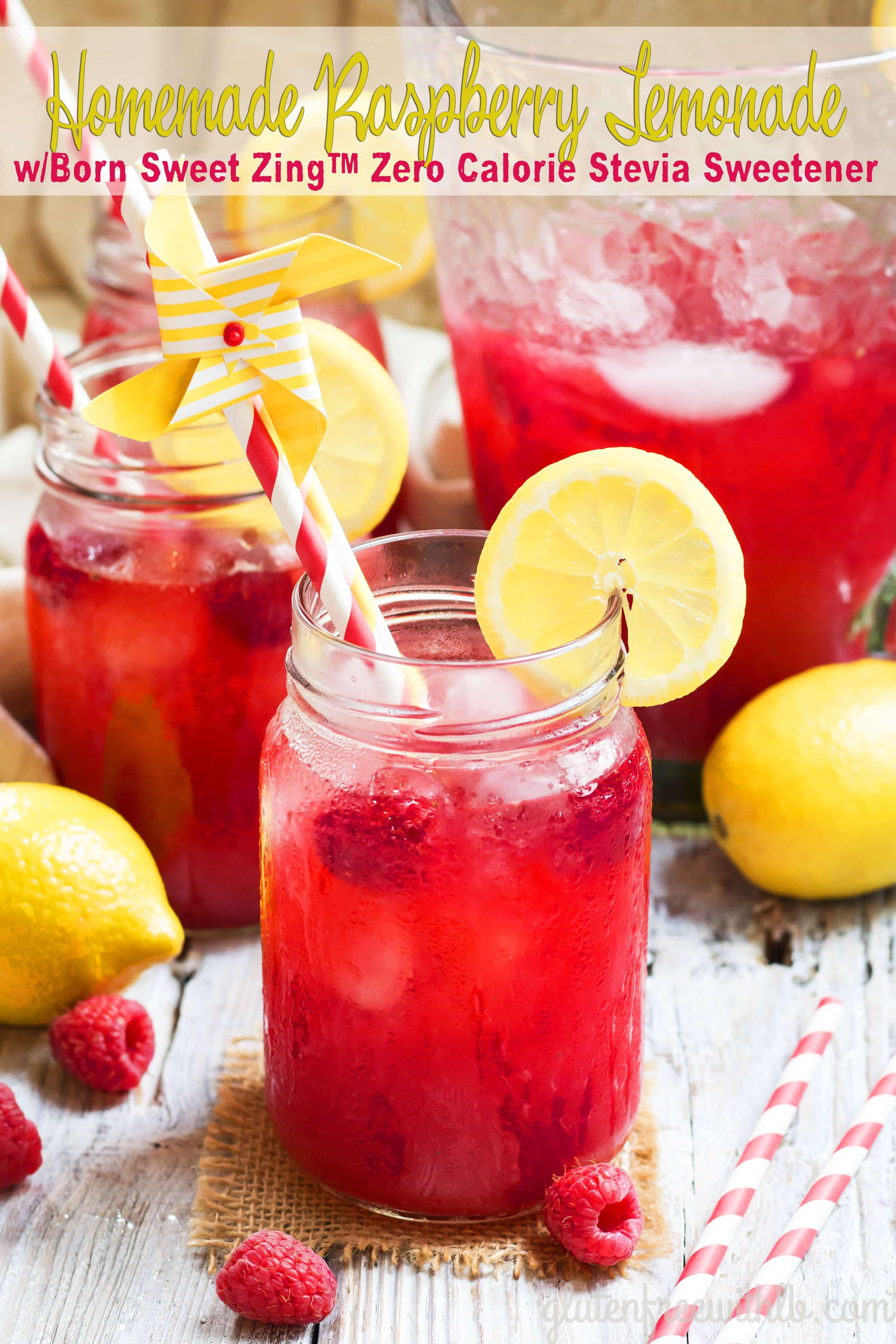 Homemade Raspberry Lemonade w/ Born Sweet Zing™ Stevia Sweetener