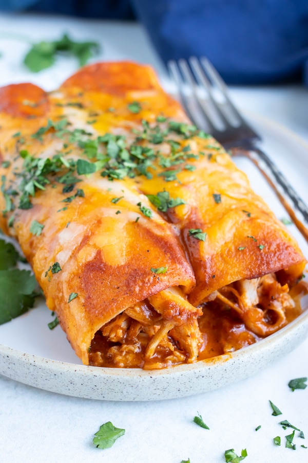 A classic and authentic Mexican enchilada recipe with shredded chicken and cheddar cheese that is topped with cilantro.