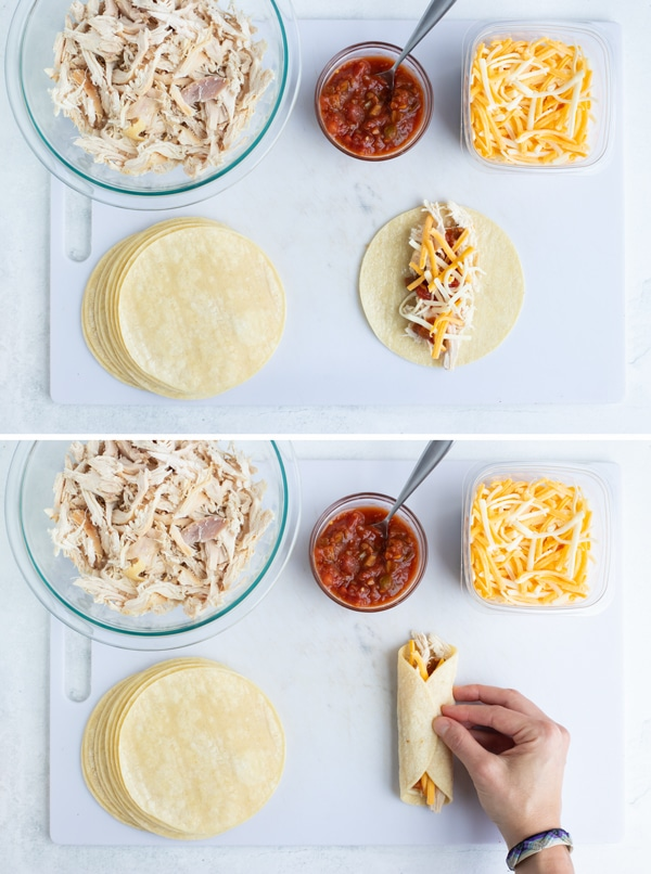 Two images showing how to roll up shredded chicken and cheese enchiladas.