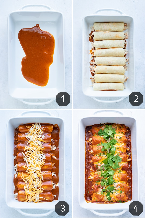 Four step-by-step photos showing how to make shredded chicken enchiladas with cheese in corn tortillas and homemade red sauce.