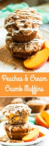 Gluten Free Peach Muffins with a Crumb Topping and Glaze | A breakfast muffin recipe that is bursting with fresh peaches, covered in a crumb topping and drizzled with a creamy glaze. Makes a wonderful sweet breakfast treat, afternoon snack or dessert!