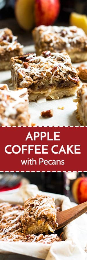 A gluten free apple coffee cake recipe that is bursting with fresh, thinly sliced apples and finished with a crumb topping full of pecans.  This coffee cake recipe is an easy make-ahead breakfast recipe perfect for Fall and Thanksgiving!