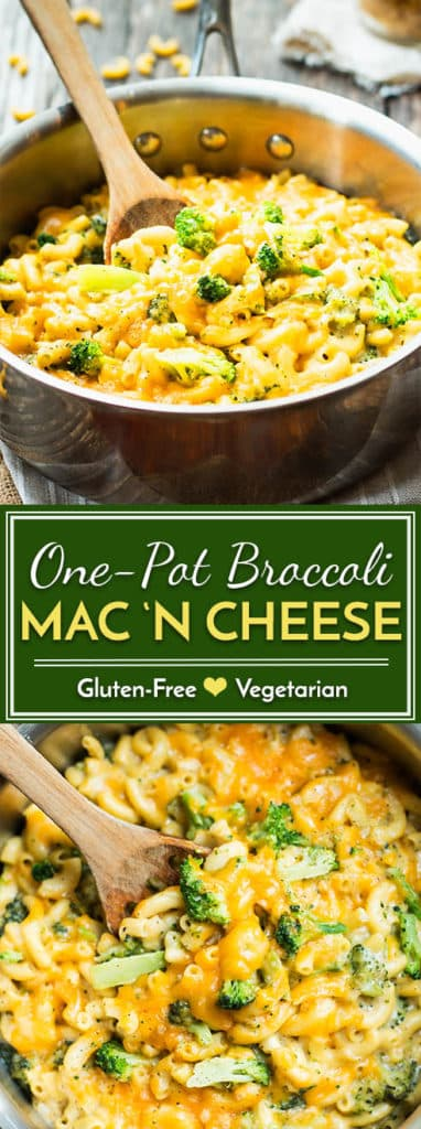 One pot mac 'n cheese with broccoli is a wonderfully easy weeknight dinner recipe. Have a healthy, gluten-free meal on the table in under 30 minutes!