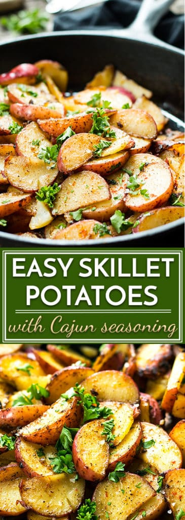 A quick and easy gluten free side dish for Cajun Skillet Potatoes with an instructional video.  These potato wedges are seasoned with chili powder and paprika!