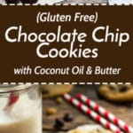 Gluten Free Chocolate Chip Cookies with Coconut Oil & Butter   These gluten free cookies are made with both coconut oil and butter. Get the fluffiness you love by using coconut oil and the nutty taste by incorporating a bit of butter!