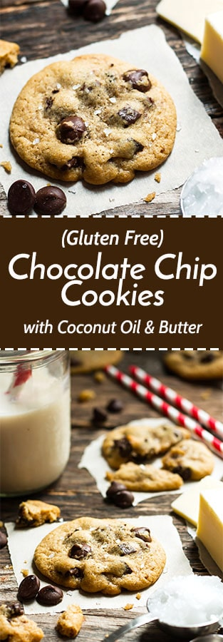 Gluten Free Chocolate Chip Cookies with Coconut Oil & Butter | These gluten free cookies are made with both coconut oil and butter. Get the fluffiness you love by using coconut oil and the nutty taste by incorporating a bit of butter!