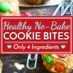 4-Ingredient Healthy No-Bake Monster Cookie Bites | A recipe for healthy cookie bites that is gluten-free, vegan and only take 10 minutes to make. These tiny bites of bliss make a great kid-friendly afternoon snack or dessert.