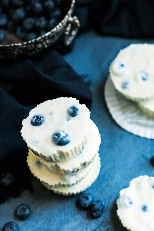 Gluten-free Greek yogurt bites made with lemon and blueberries in a stack.