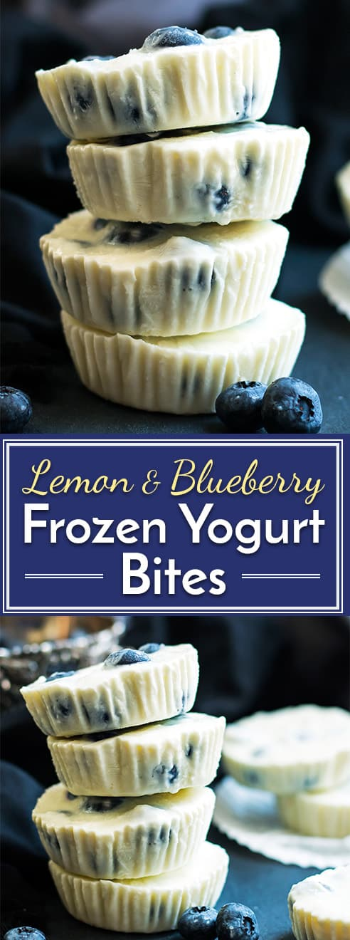 A healthy afternoon snack or dessert recipe for frozen Greek yogurt bites.  Lemon and blueberry flavors combine to make them a super fresh and fruity gluten free treat!