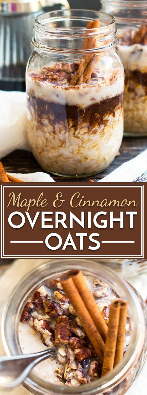 Maple, Brown Sugar and Cinnamon Overnight Oats | A super simple and easy way to make Maple Brown Sugar and Cinnamon Overnight Oats in a jar!  Fill your mason jar with rolled oats, maple syrup, cinnamon and milk and wake up to a quick and healthy gluten-free breakfast recipe of maple-cinnamon oatmeal!  #overnightoats #oatmeal #masonjar #oatsinajar #healthybreakfast #breakfast #breakfastrecipes #glutenfree #vegan #cinnamonoatmeal #mapleoatmeal #glutenfreebreakfast