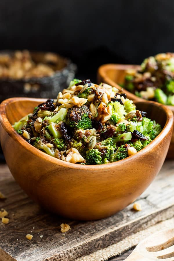 Chopped Broccoli Salad made with a sweet balsamic vinaigrette glaze for an easy lunch.