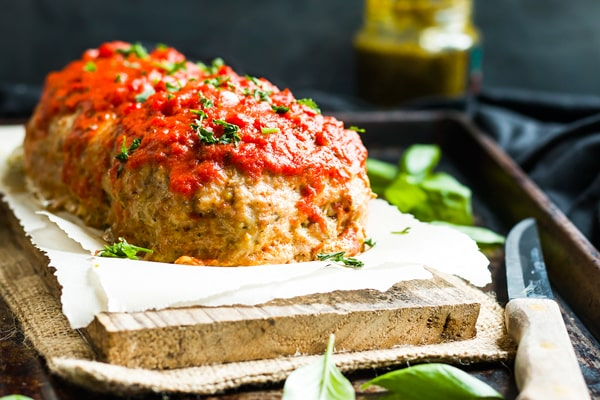 Pesto & Mozzarella Stuffed Meatloaf | Pesto and mozzarella stuffed meatloaf that is loaded with Italian flavor and makes a wonderful gluten-free main course for dinner.