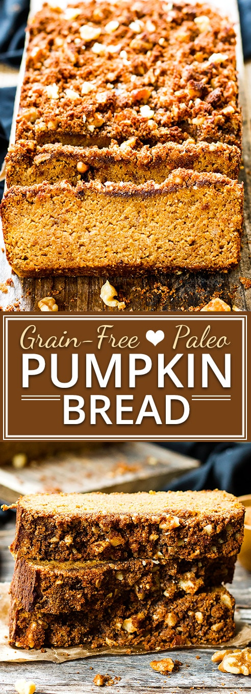 A healthy and easy coconut flour pumpkin bread recipe that is refined sugar-free, gluten free, dairy free, grain free and Paleo.  Paleo pumpkin bread is a healthy Fall breakfast and snack recipe.
