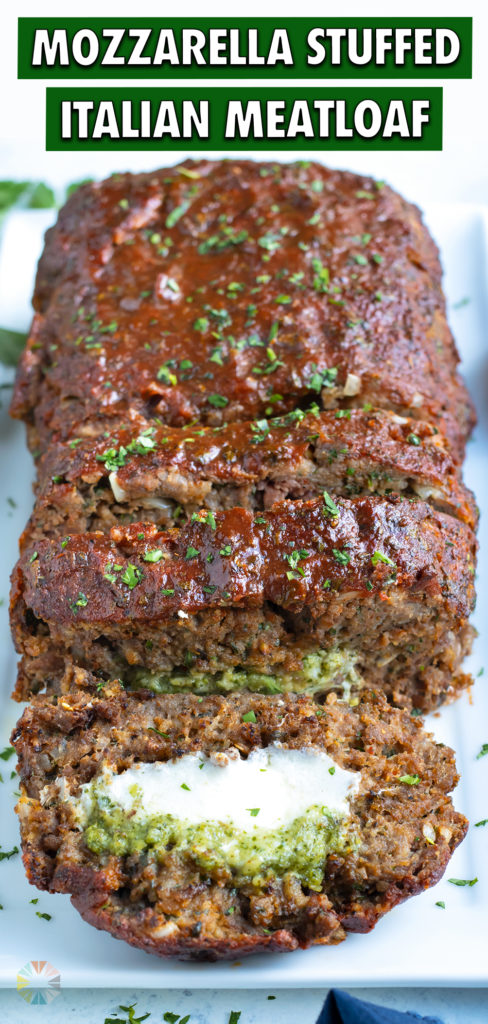 Sliced meatloaf is served for a hearty dinner dish.
