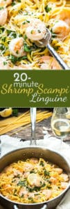 Easy Shrimp Scampi Linguine with White Wine {Video} | This shrimp scampi with pasta can be ready and on the table in less than 20 minutes! It makes a wonderful, quick and easy gluten free pasta dish for those busy weeknights.