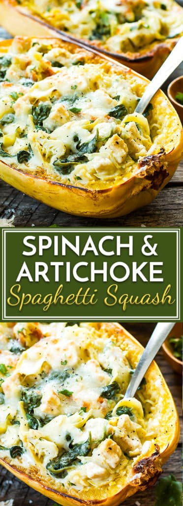 These Spinach Artichoke Spaghetti Squash Boats with Chicken are a healthy, low-carb, and gluten-free dinner recipe for those busy weeknights.