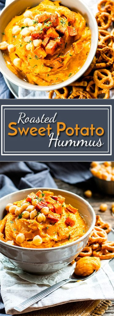 Roasted Sweet Potato Hummus Without Tahini | A hummus recipe without tahini!! It is full of roasted sweet potatoes, spices and garbanzo beans making it a super healthy vegan and gluten free snack or appetizer.