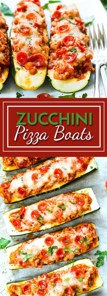 Pizza Zucchini Boats with Pepperoni and Sausage | A healthy, low-carb, pizza zucchini boat recipe that is full of Italian sausage, Mozzarella and pepperonis.