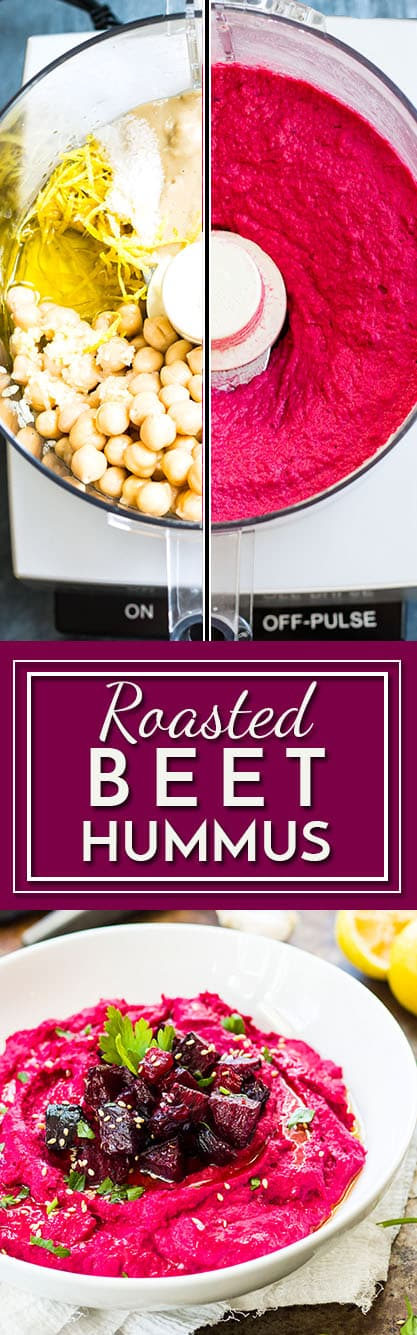 Roasted Beet Hummus | A gluten free and vegan hummus recipe that is made from roasted beets, chickpeas, and tahini paste.