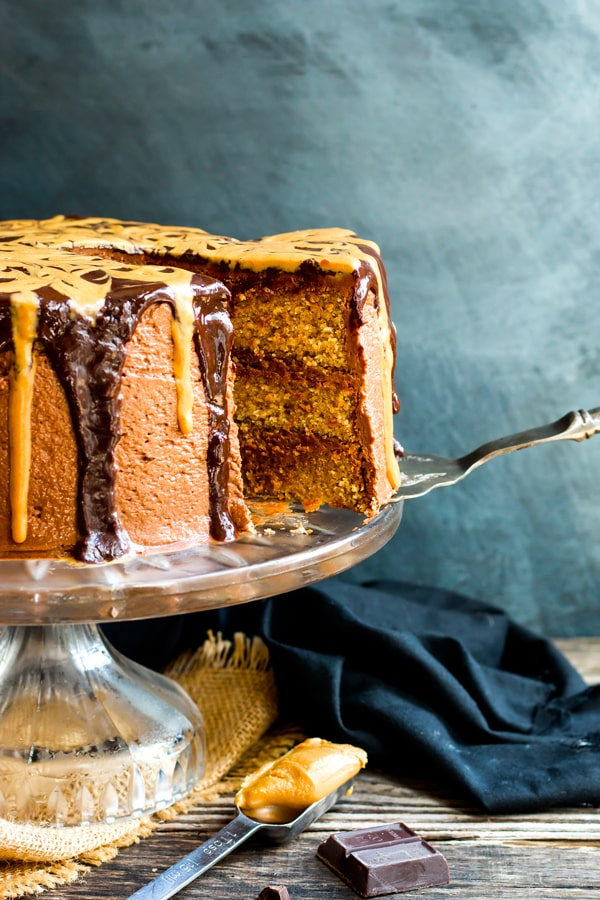 Peanut Butter Cake with Chocolate Frosting | A gluten free peanut butter cake recipe with chocolate buttercream frosting and a rich chocolate ganache. A wonderful birthday cake recipe!