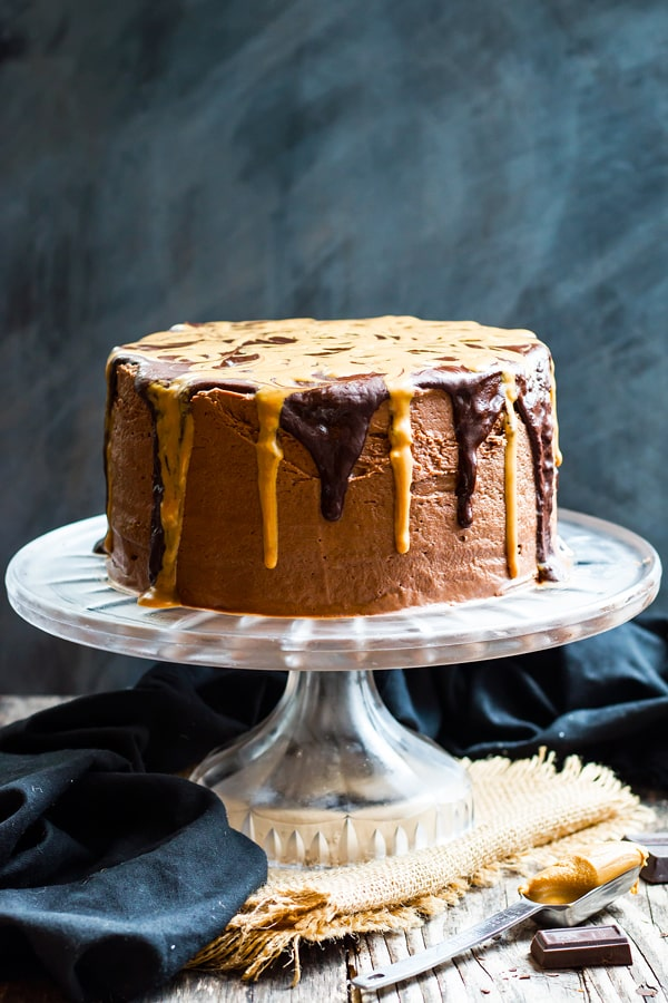Peanut Butter Cake With Chocolate Frosting And Ganache
