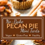 No Bake Pecan Pie Mini Tarts | A healthy vegan and gluten free pecan pie mini tart recipe that is refined sugar free. It makes for a healthy Thanksgiving dessert or holiday dessert.