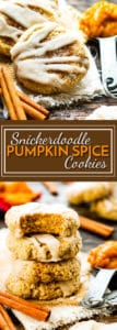 Snickerdoodle Pumpkin Cookies | A super soft, gluten free pumpkin spice cookie that is rolled in cinnamon sugar and topped with a sweet glaze!